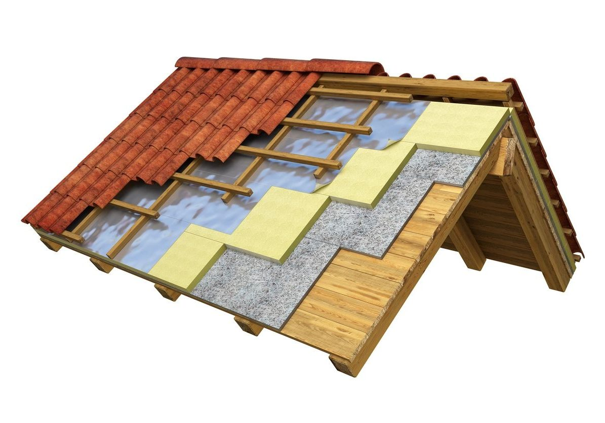 diagram of the roof insulation for a tile roof in chicago
